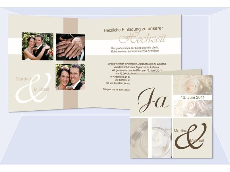 """einladungskarte hochzeit """"romantik"""", klappkarte quadrat, creme, Einladung"""