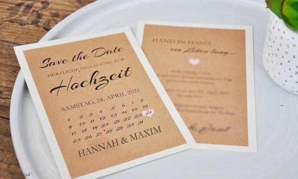 Save the date Karten Hochzeit Vintage Kraftpapier