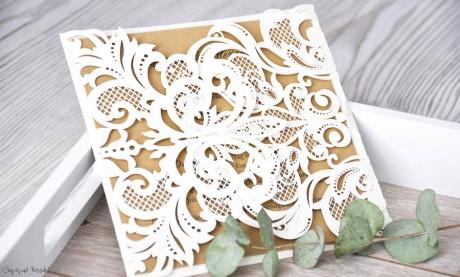 Einladungskarten Hochzeit gold weiß Lasercut Spitze