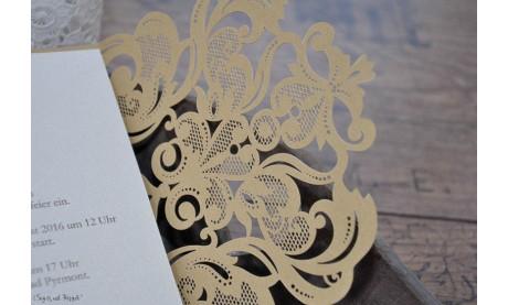 Einladungskarten Hochzeit gold Lasercut Spitze
