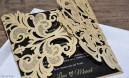 Einladungskarten Hochzeit gold schwarz Lasercut Spitze