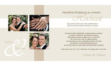 Hochzeitskarte, Einladung Hochzeit, Klappkarte Quadrat, creme