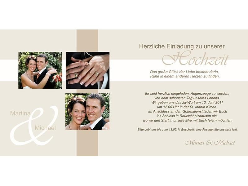 """einladungskarte hochzeit """"romantik"""", klappkarte quadrat, creme, Einladungsentwurf"""
