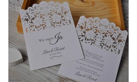 Einladungskarten Hochzeit Spitze Lasercut