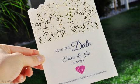 Save the Date Karten Hochzeit Spitze Lasercut