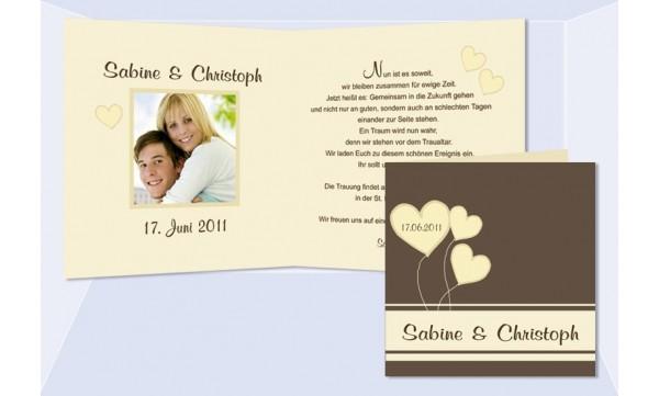 """Einladungskarte Hochzeit """"Herz"""", Klappkarte Quadrat, braun creme"""