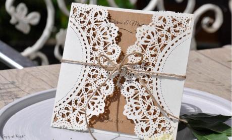 Einladungskarte Hochzeit Kraftpapier Spitze Lasercut diy