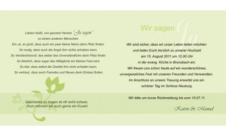 """Einladungskarte Hochzeit """"Blütenfrisch"""", Klappkarte Quadrat, grün"""