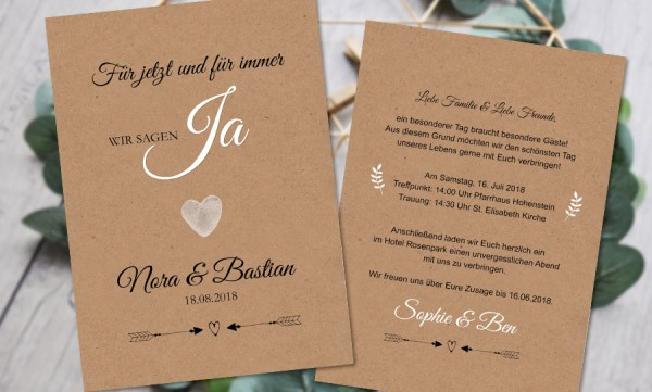Vintage Kraftpapier Hochzeitseinladung rustical natural Spitze