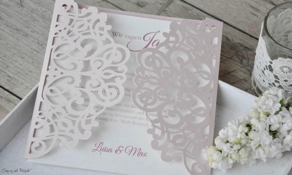 Rosa Lasercut Hochzeitseinladung rosa Spitze Vintage diy