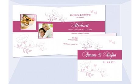 """Einladungskarte Hochzeit """"Kirschblüte"""", Klappkarte Quadrat, weiß pink"""