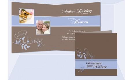 """Einladungskarte Goldene Hochzeit """"Klassik"""", Klappkarte Quadrat, braun hellblau"""