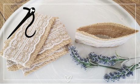 Einladungskarten Vintage Spitze Jutesack Lavendel