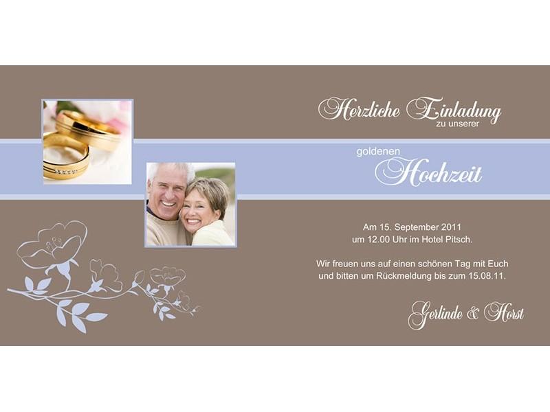 Hochzeitskarte, Hochzeitseinladung, Einladung Goldene Hochzeit, Einladungskarten, braun hellblau
