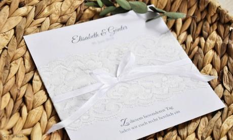 Einladungskarten Hochzeit Spitze weiß Vintage