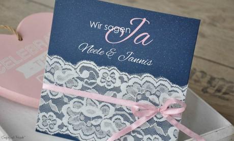 Einladungskarten Hochzeit Spitze weiß Vintage rosa blau