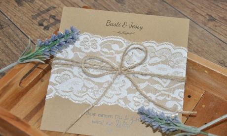 Einladungskarten Hochzeit Spitze weiß Vintage Kraftpapier