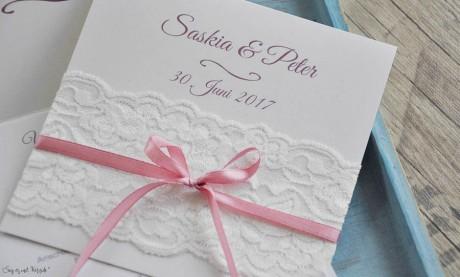 Einladungskarten Hochzeit Spitze weiß Vintage rosa