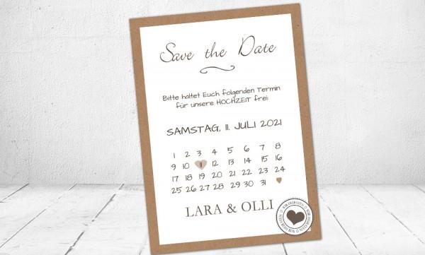 Einladungskarten Hochzeit save the date Kraftpapier Banderole Herz Stempel Vintage
