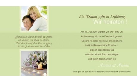 """Einladungskarte Hochzeit """"Stilvoll"""", Klappkarte Quadrat, grün"""
