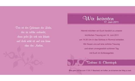 """Einladungskarte Hochzeit """"Verspielt"""", Klappkarte Quadrat, beere"""