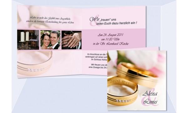 """Einladungskarte Hochzeit """"Ringe"""", Klappkarte Quadrat, rosa"""