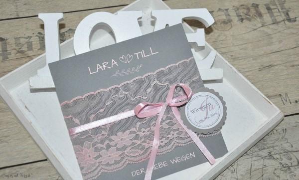 Vintage Einladungskarten Hochzeit Spitze rosa grau anthrazit