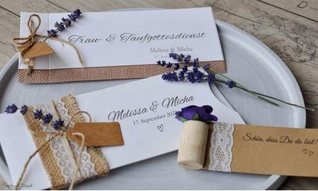 Einladungskarten Hochzeit Vintage Sackenleinen Spitze flieder lavendel