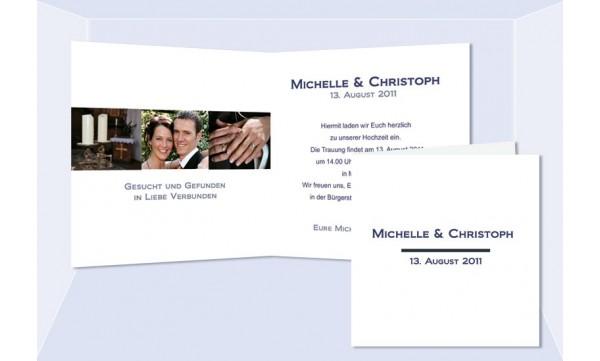 """Einladungskarte Hochzeit """"Schlicht"""", Klappkarte Quadrat, weiß marine"""