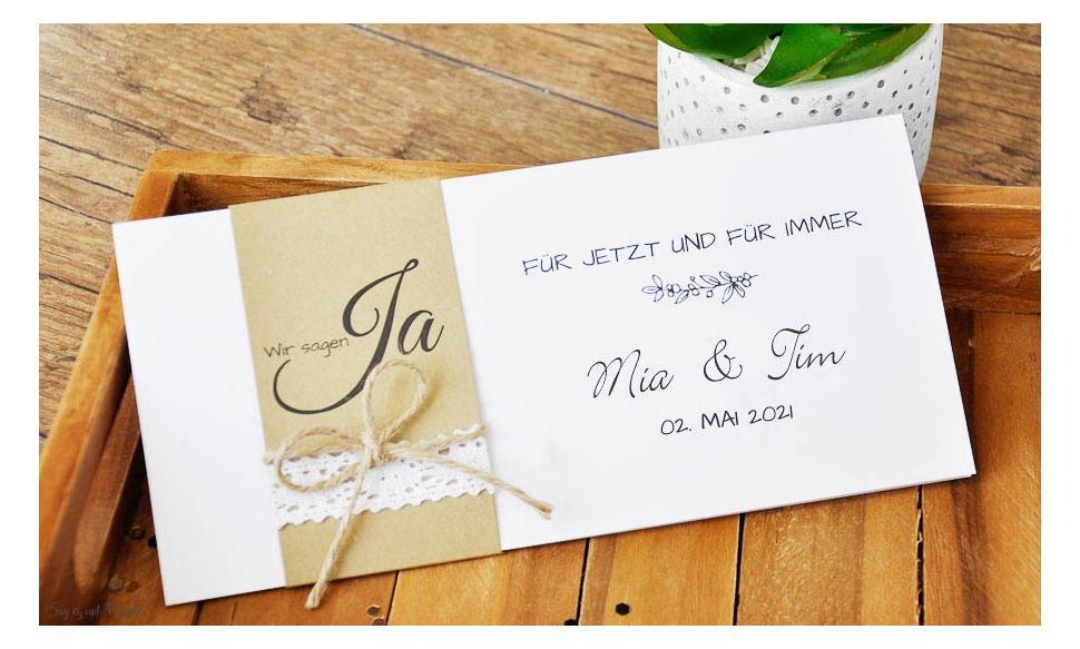 Einladungskarten Hochzeit Vintage Kraftpapier Banderole Spitze diy