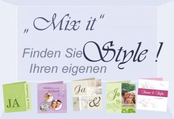 """Einladungskarte Hochzeit """"Mix it"""", Klappkarte Quadrat, maßgeschneidert"""