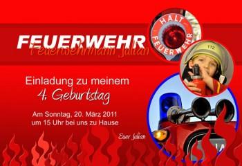 """Einladung Kindergeburtstag """"Feuerwehr"""", Fotokarte 10x15 cm"""