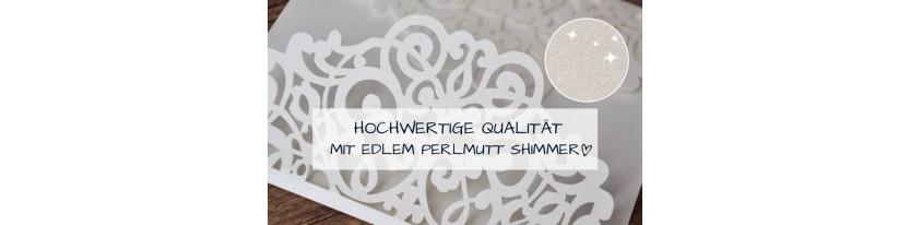 Einladungskarten Hochzeit Lasercut Spitze Pocketfold edel elegant weiß
