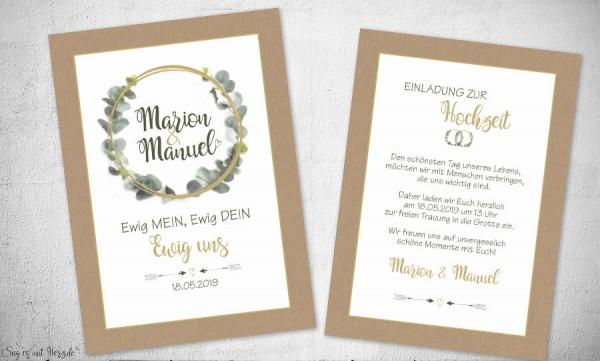 Einladungskarten Hochzeit Eukalyptus