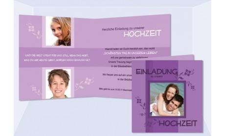 """Einladungskarte Hochzeit """"Blumenranken"""", Klappkarte Quadrat, lila"""
