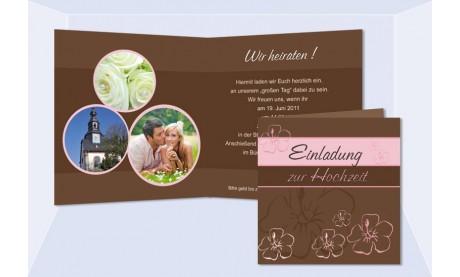 """Einladungskarte Hochzeit """"blumig"""", Klappkarte Quadrat, braun rosa"""