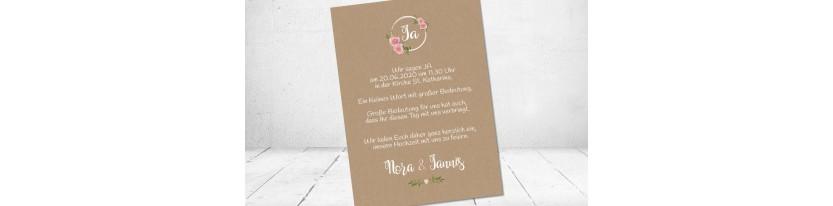 Hochzeitseinladung floral Vintage Spitze weiß Kraftpapier Blumen diy