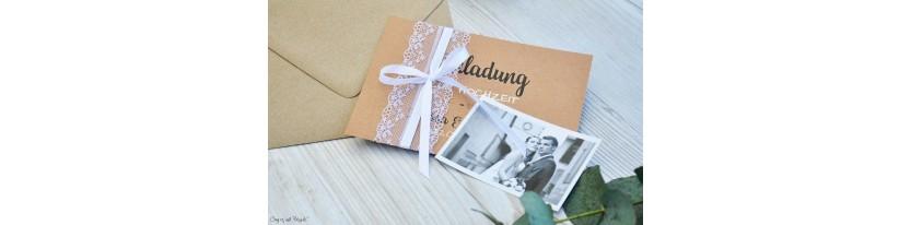 Hochzeitseinladung Kraftpapier Spitze mit Foto Vintage diy