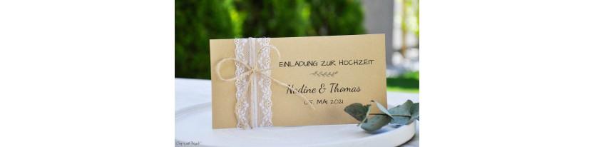 Einladungskarte Hochzeit Vintage Spitze mit Kraftpapier