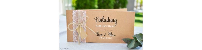 Hochzeitseinladung Kraftpapier Spitze Vintage diy