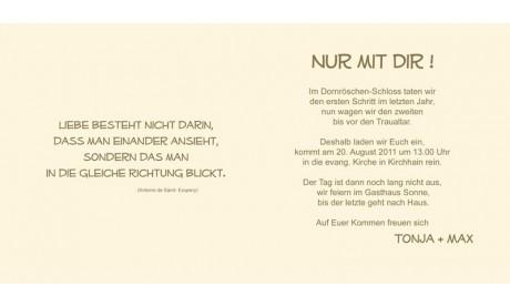 """Einladungskarte Hochzeit """"einfach schick"""", Klappkarte Quadrat, creme"""