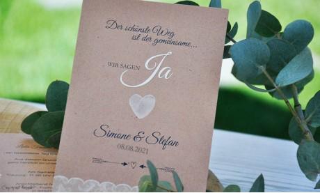 Einladungskarten Hochzeit Spitze Vintage, Fingerprint