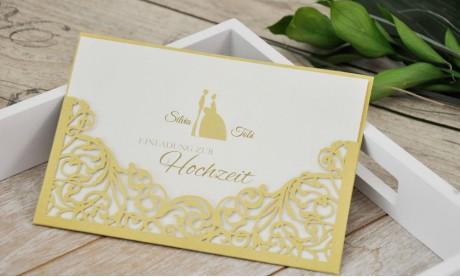 Hochzeitseinladungen gold Lasercut Spitze edel