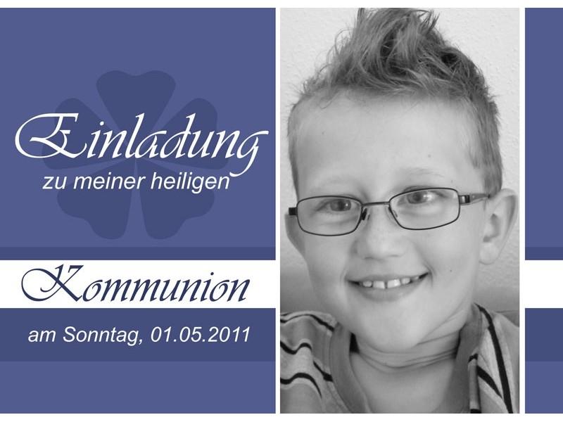 Einladung Kommunion / Konfirmation, Einladungskarte, Postkarte, lila
