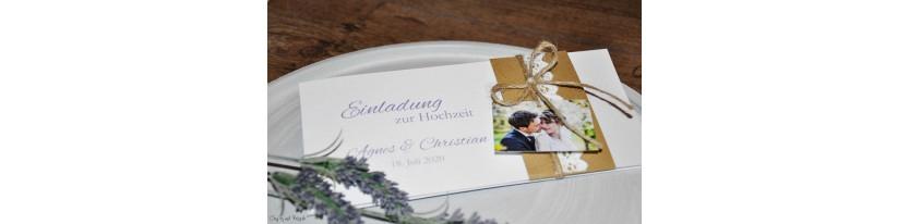 Vintage Einladungskarten Hochzeit mit Kraftpapier Banderole, Spitze mit Foto, diy