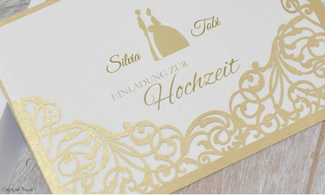 Hochzeitseinladungen gold Lasercut Spitze edel