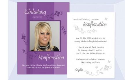Einladung Kommunion / Konfirmation, Postkarte 10x15 cm, lila