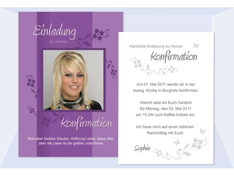 einladung kommunion / konfirmation, einladungskarte, postkarte, lila, Einladung