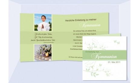 Einladung Kommunion / Konfirmation, Klappkarte 12,5x12,5 cm, weiß grün
