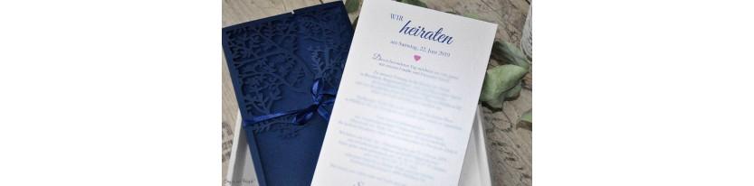 Einladungskarten Hochzeit Lasercut Spitze blau rosa Baum Vintage